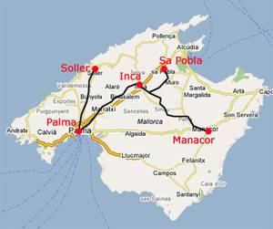 Mallorca kort - jernbaner